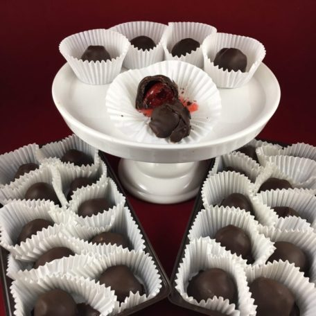 Double dipped dark chocolate cherries